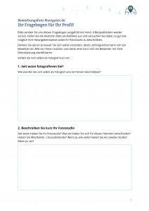 Fragebogen Fotografen Bewerbungsfoto-Navigator